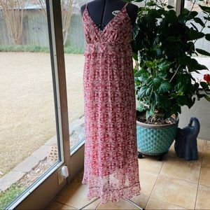 Max Studio Pink/Mauve Maxi Dress Sz L- fits like S